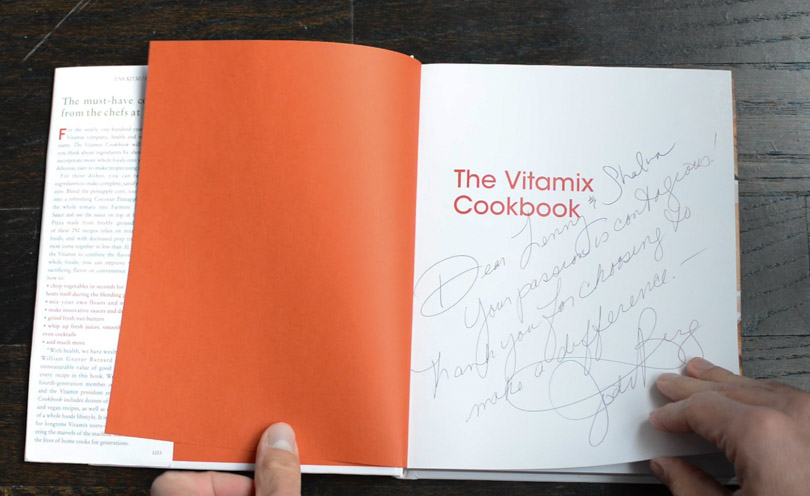 Vitamix cookbook signed by Jodi Berg to Lenny and Shalva.