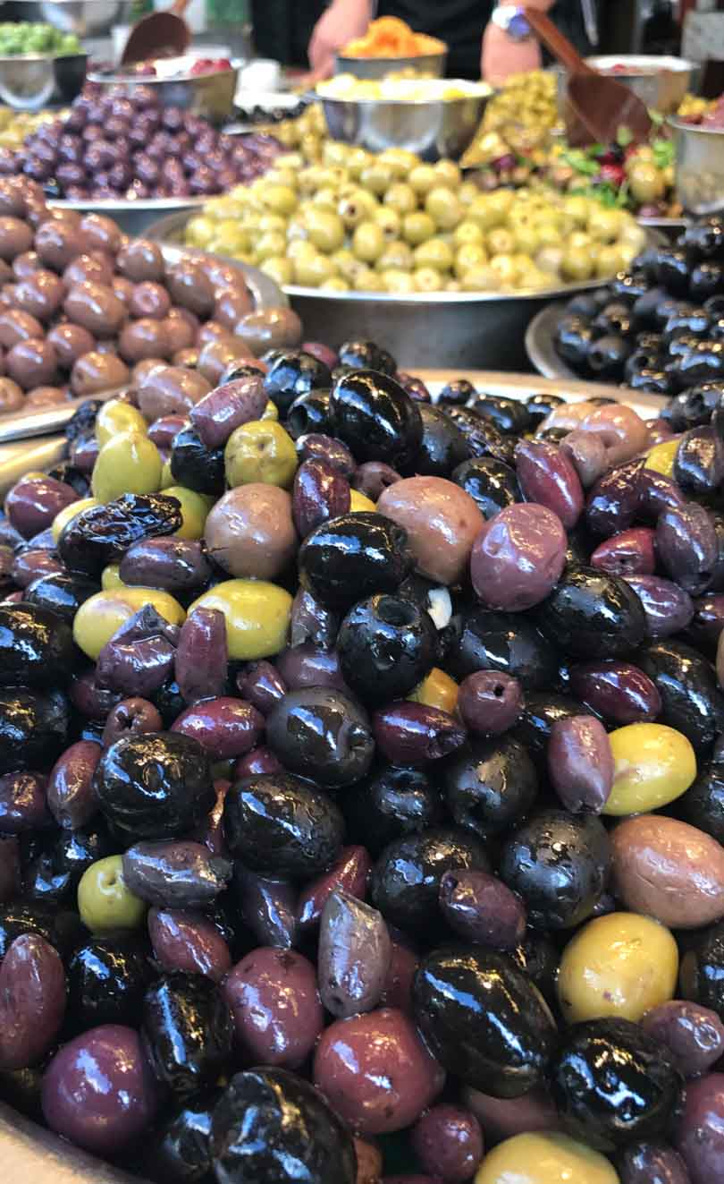 Olives at the shuk in Israel.