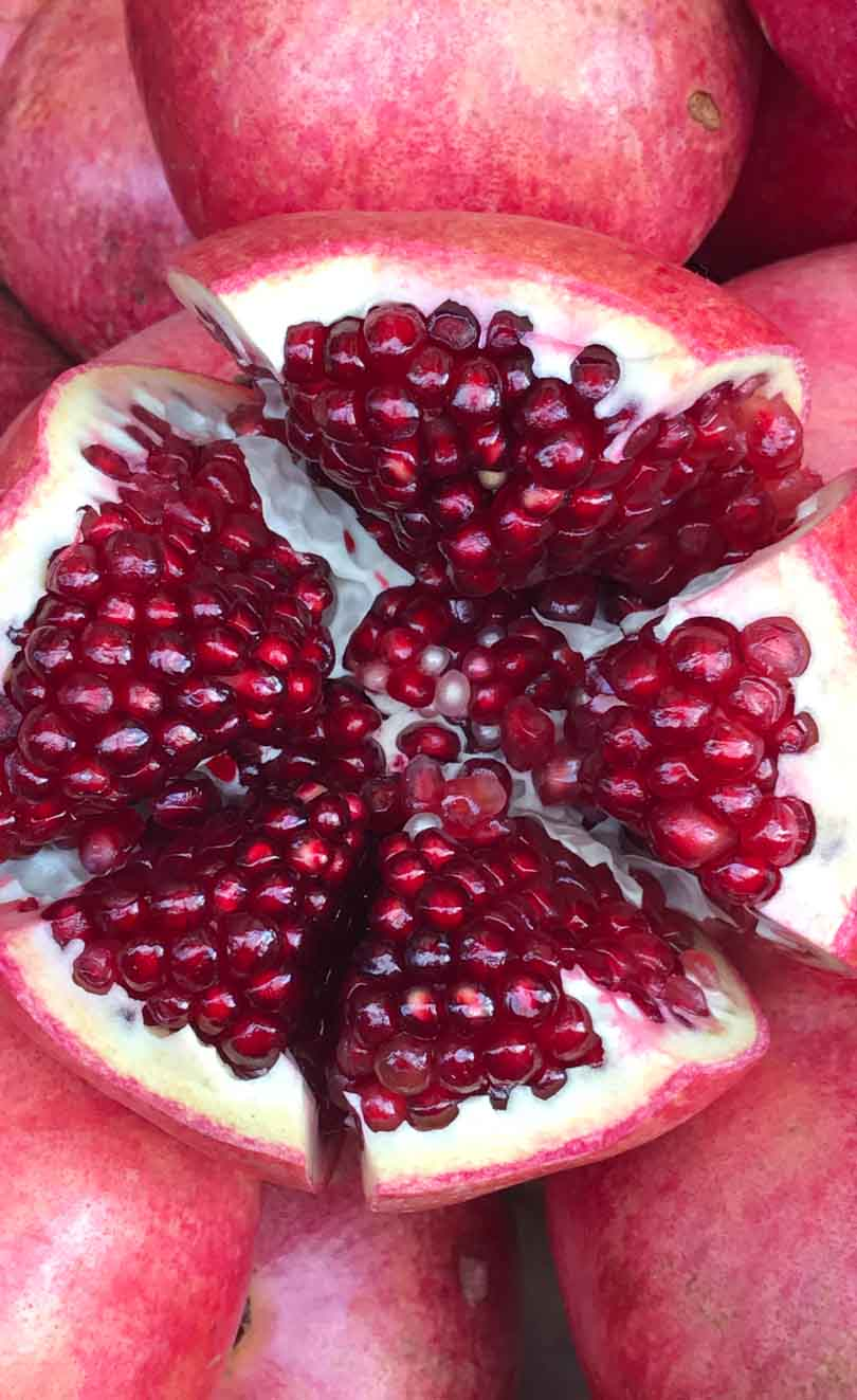 Pomegranate up close.
