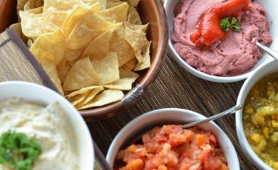 Four vegan Vitamix recipes with chips perfect for Super Bowl parties.