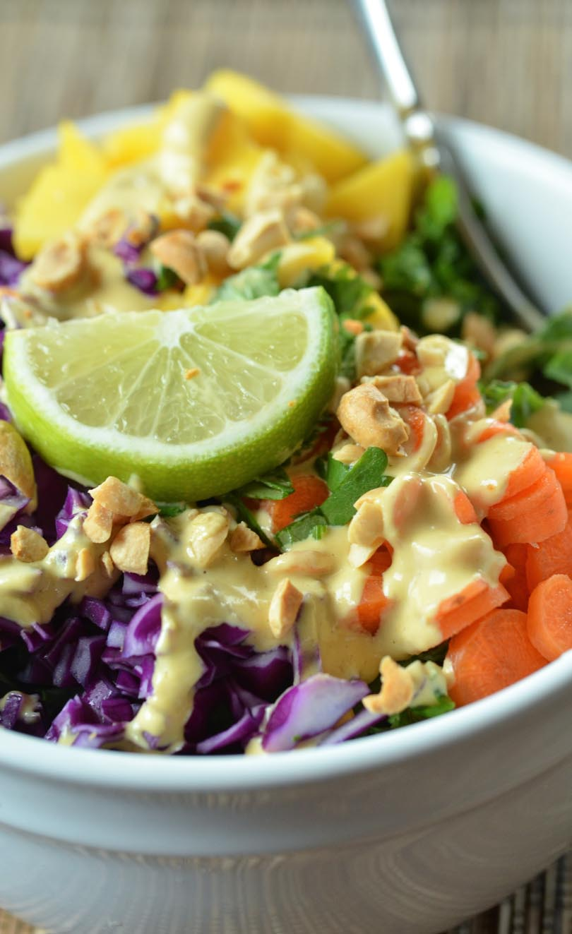 Thai coconut curry dressing up close.