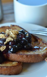 Close up of vegan french toast on white plate.