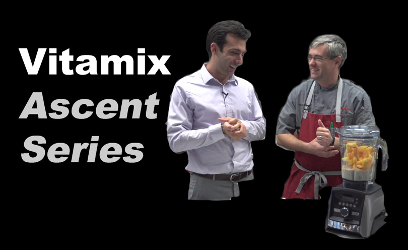 Vitamix Ascent Series demonstration thumbnail with Lenny Gale, Chef Adam and a Vitamix A3500.