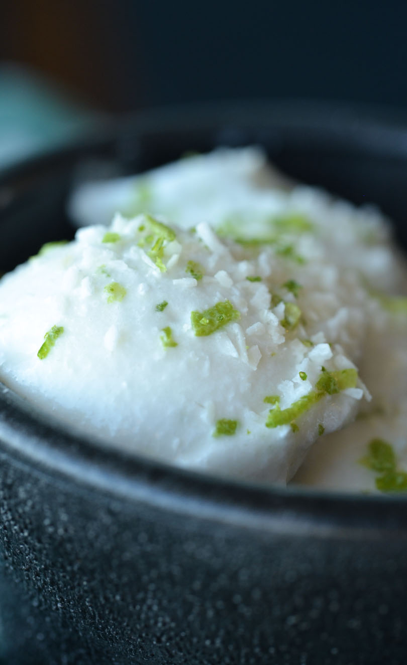 Close up of coco lime sorbet.