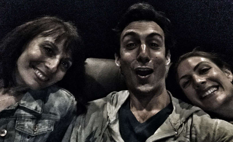 Lenny and Shalva and Robin Gale selifie at the movies.
