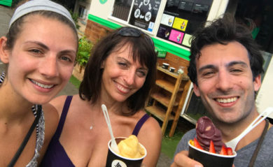 Shalva with Lenny and his mother, Robin enjoying banana ice cream in Honolulu.