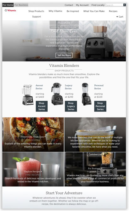 Vitamix website snapshot 2017.