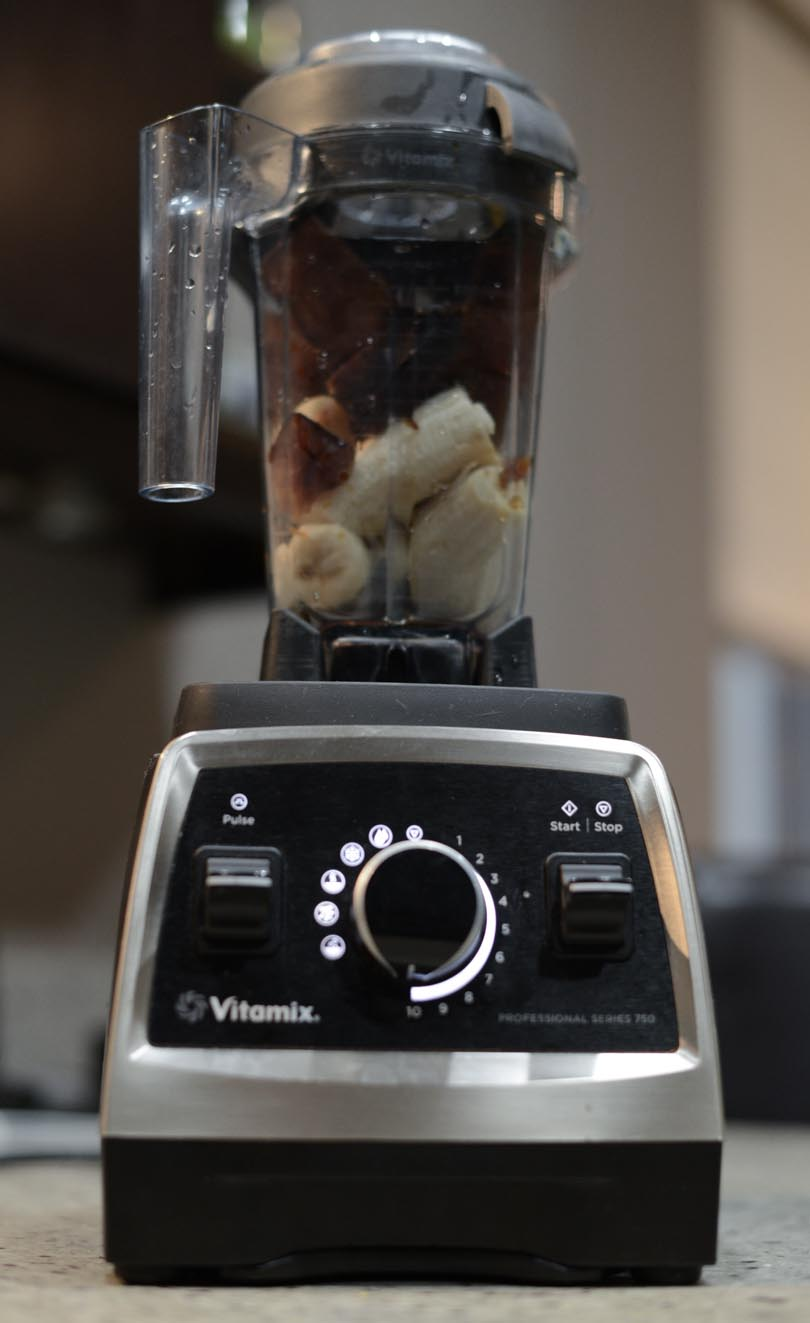 Ingredients for coffee ice cream in our Vitamix Pro 750.