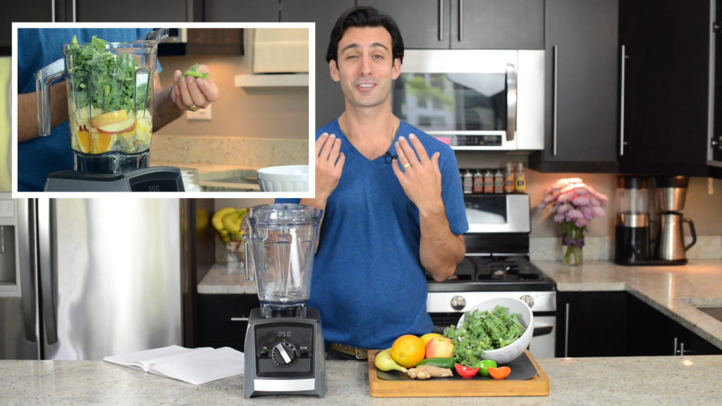 Lenny Gale in the how to make green juice youtube video thumbnail.