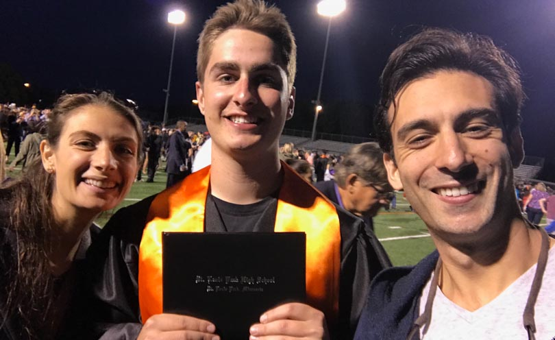 Shalva and Lenny with Jack at his St. Louis Park high school graduation