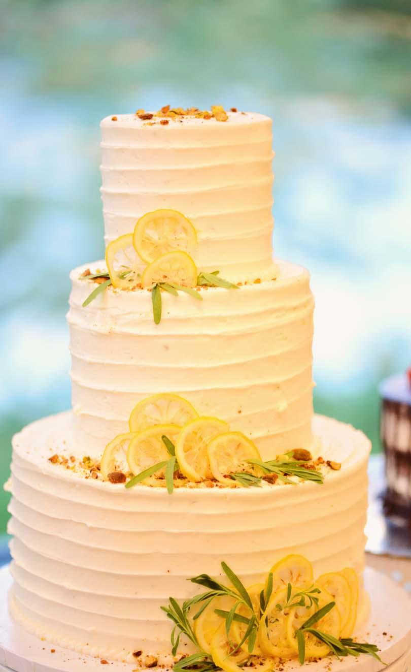 Shalva and Lenny Gale's lemon pistachio wedding cake.