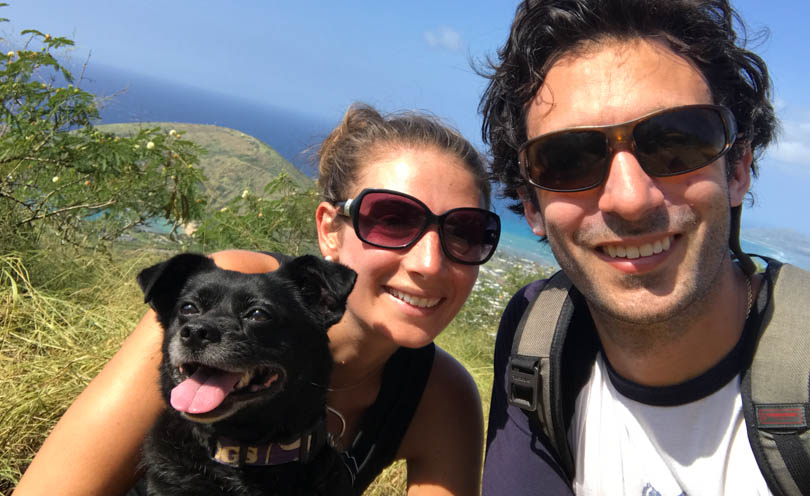 Lucy, Shalva, and Lenny at Koko Head Stairs summit.