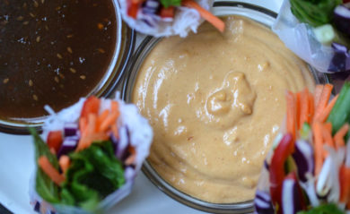 Thai peanut sauce made in a Vitamix.