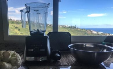 Our Vitamix A3500 with a view of the Pacific ocean in the background.