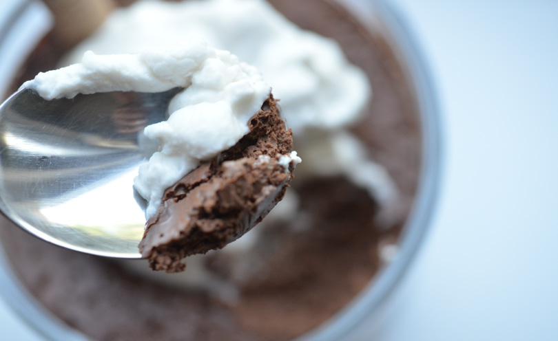 Spoonful of aquafaba chocolate mousse