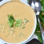 Vegan broccoli cheese soup made in our Vitamix.