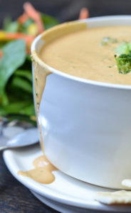 Vegan broccoli cheese soup made in our Vitamix served with a salad.