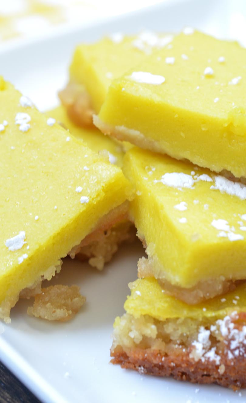 Vegan lemon bars made in a Vitamix.