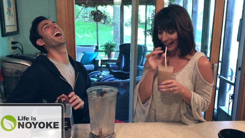 Lenny Gale and his mom Robin enjoying a smoothie and a laugh.