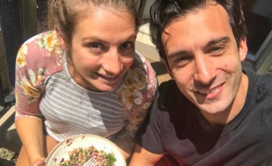 Shalva and Lenny on their stoop eating detox salad.