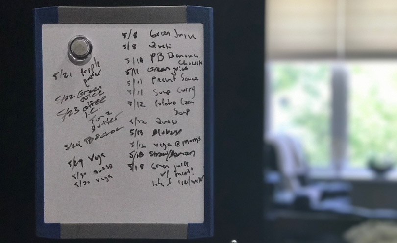 Vitamix usage in May 2017 written on a white board.