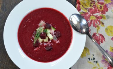 Beet borscht made in our Vitamix.