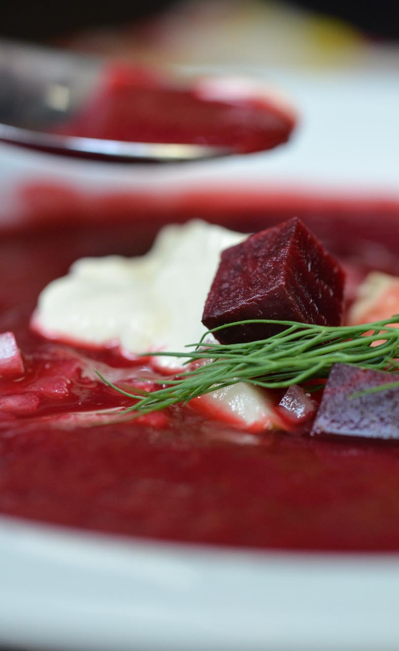 A spoonful of beet borscht.