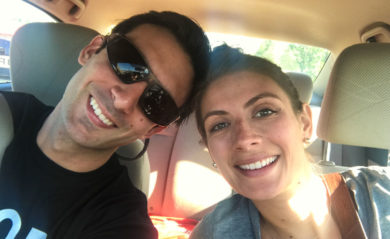 Lenny and Shalva in the car 2017.