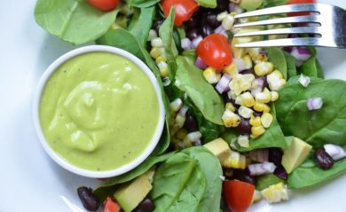 Mango dressing made in our Vitamix.