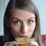 Shalva Gale sipping a pumpkin spice latte.