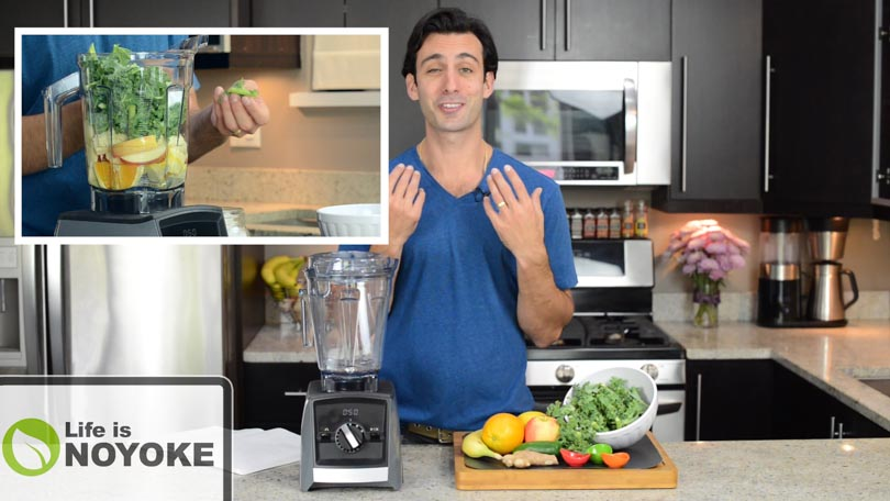 Lenny Gale demonstrating how to make green juice in a Vitamix.