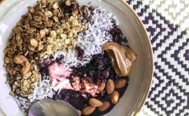 Acai bowl made in our Vitamix.