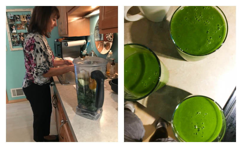 Robin Gale's homemade green juice in her Vitamix.