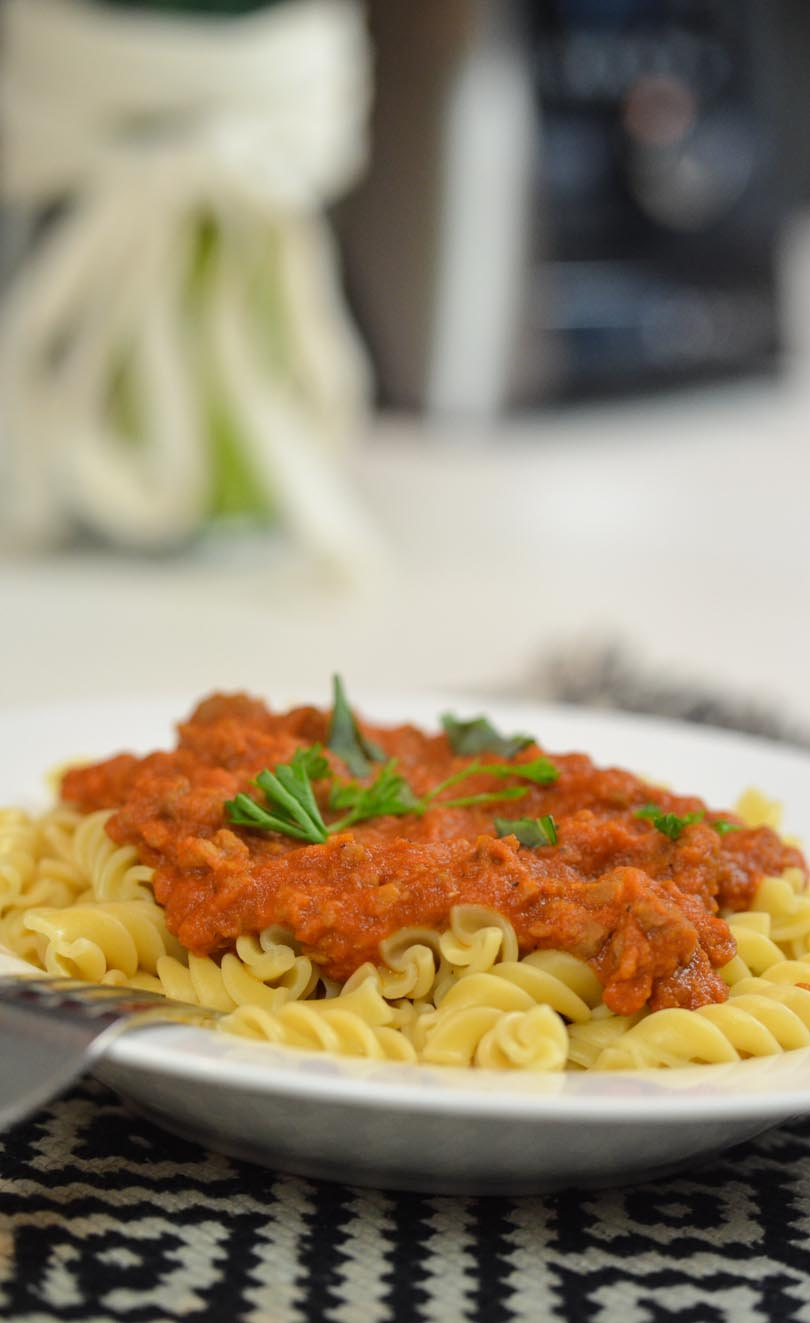 Bolognese sauce made in our Vitamix.