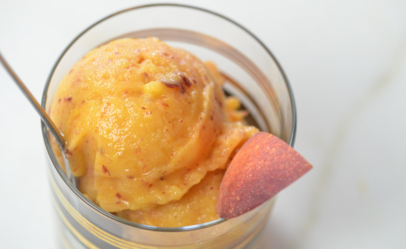 Peach buzz sorbet served.