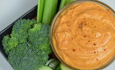 Roasted red pepper hummus made in our Vitamix.