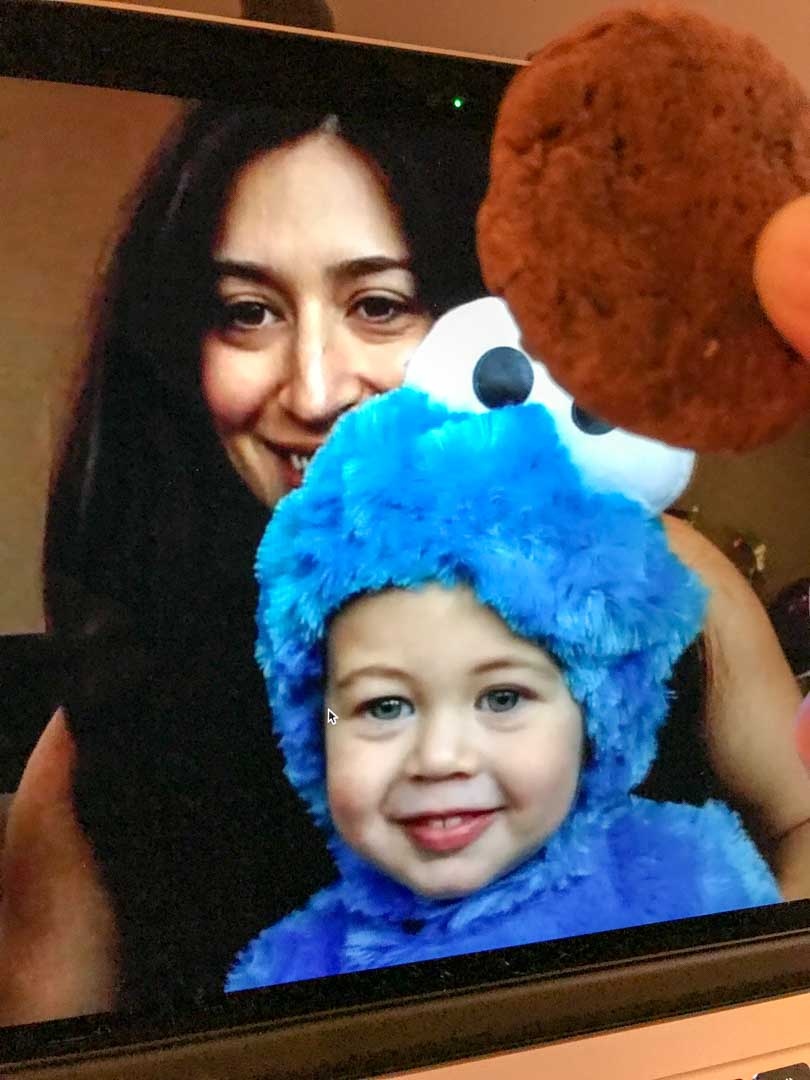 Nephew Norman dressed as cookie monster on FaceTime.