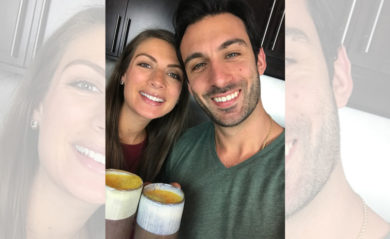 Shalva and Lenny toasting turmeric lattes in October 2017.