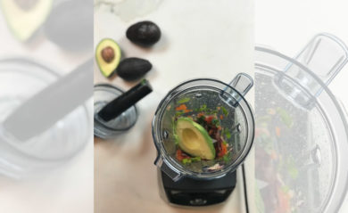 Guac ingredients in our Vitamix a3300.