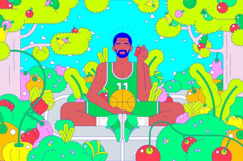 BR mag showing Kyrie eating plant based diet.