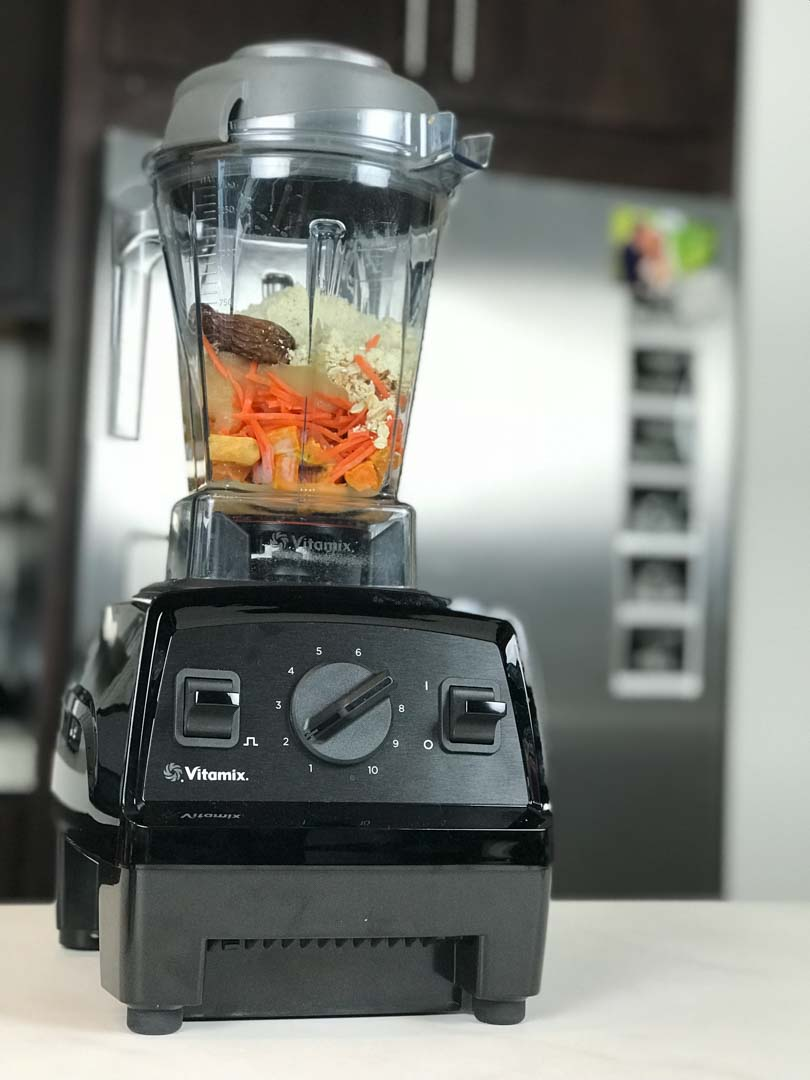 Vegan sweet potato muffin ingredients in a Vitamix E310.
