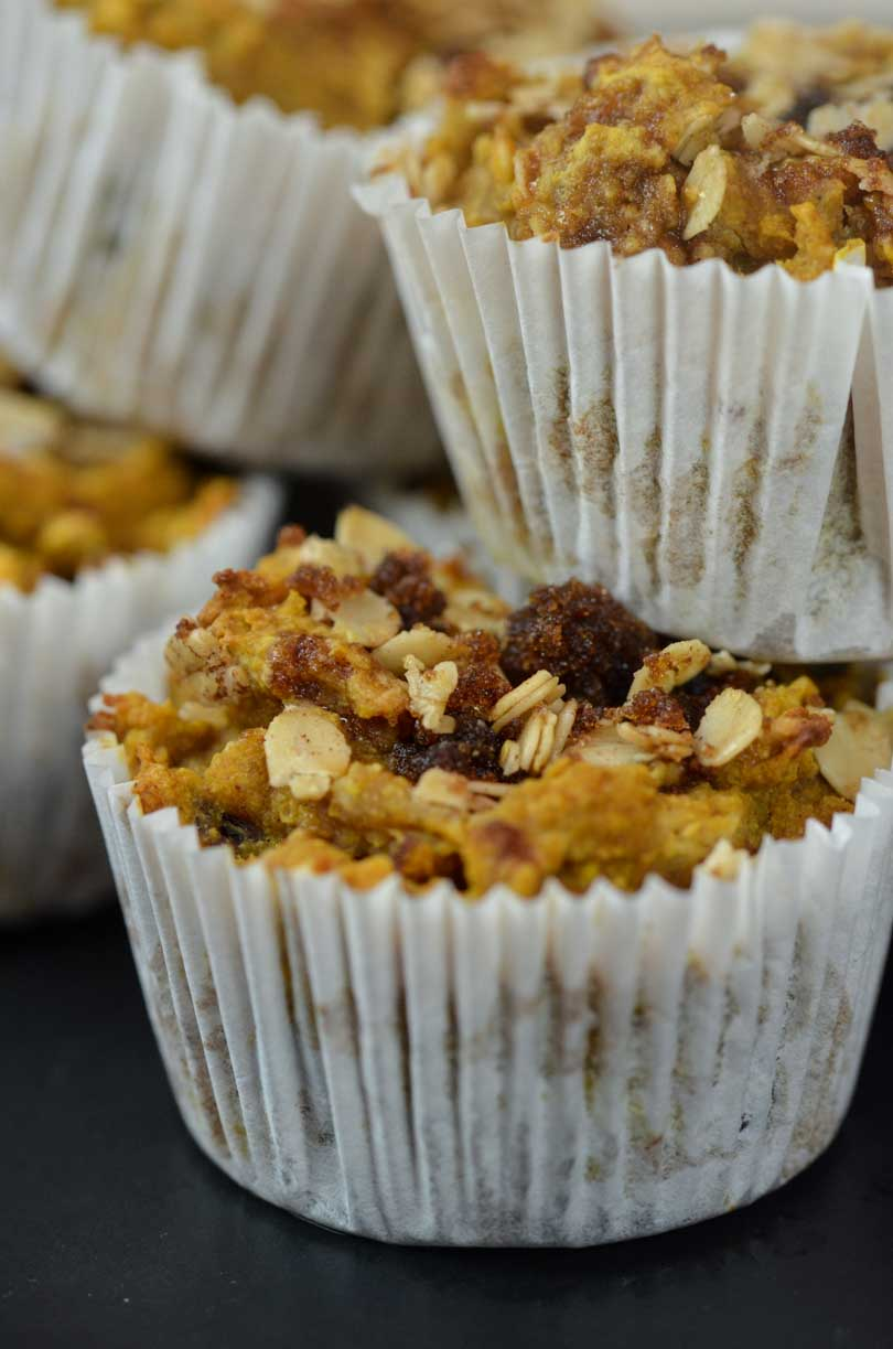 Vegan Vitamix sweet potato muffins stacked.