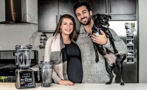 Shalva and Lenny Gale with dog Lucy for Vitamix Holiday Sale 2017.