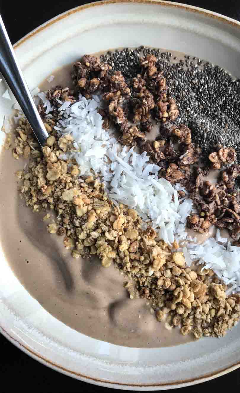 Chocolate peanut butter protein smoothie bowl.