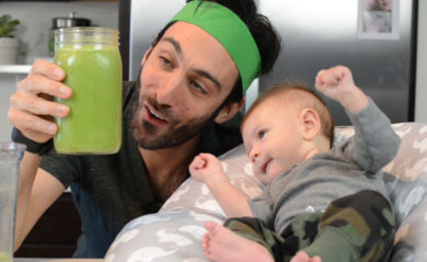 Week in review February 9 2018 featured image Lenny Gale with baby and green juice.