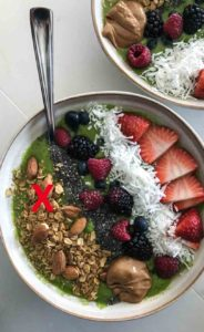 Too many toppings smoothie bowl