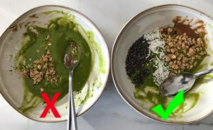 Wrong way and right way to eat smoothie bowl.