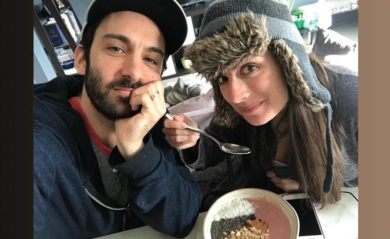 Lenny and Shalva eating smoothie bowls march 23 2018.