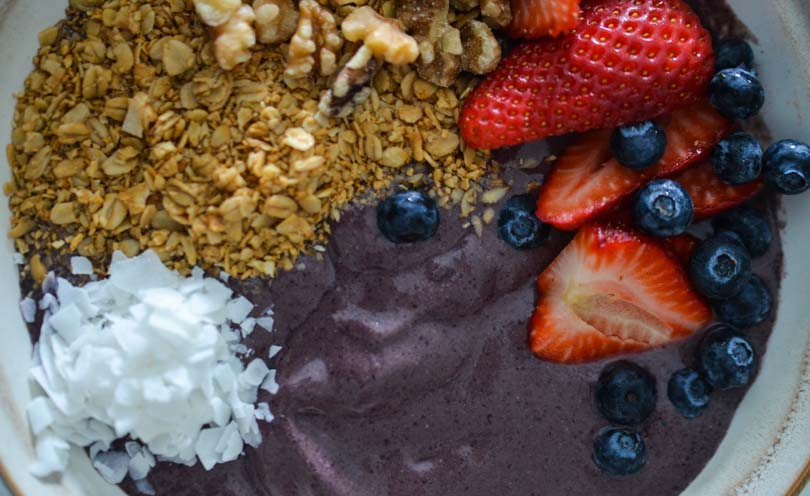 Acai bowl with granola and berries.