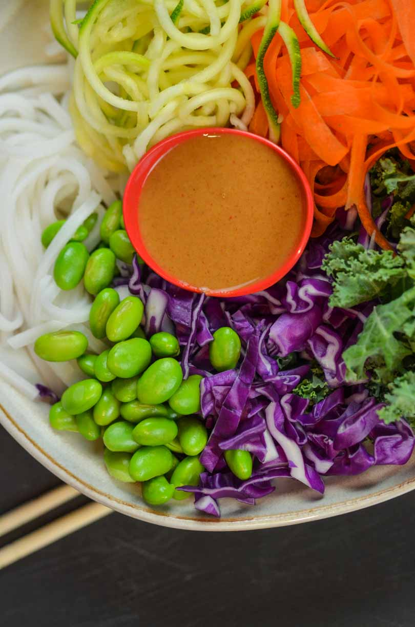 Thai peanut sauce over Asian salad